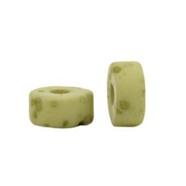 Polaris Elements kralen disc 6mm Lava Granite green 5 stuks