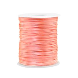 Satijn draad 1.5mm Peachy Neon pink, 2 meter
