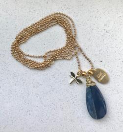 Lange ketting Blue Kyanite (gold)