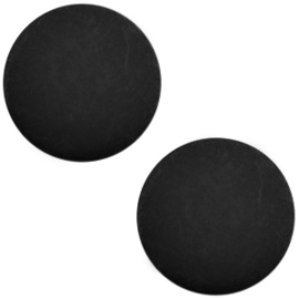 Polaris cabochon 7mm matt 7mm Nero zwart, 2 stuks