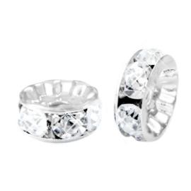 rondellen 6mm Zilver-crystal (4 stuks)