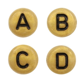 Letterkralen van acryl mix Gold-Black, 750 stuks