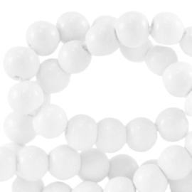 4 mm glaskralen opaque bright White, 50 stuks