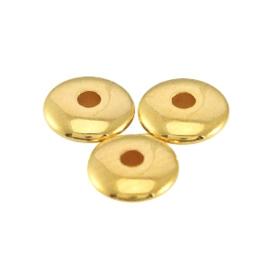 DQ metalen kralen disc 4x1.5mm Goud, 10 stuks (nikkelvrij)