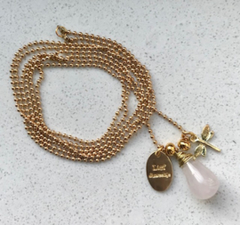 Lange ketting Rozenkwarts (gold)
