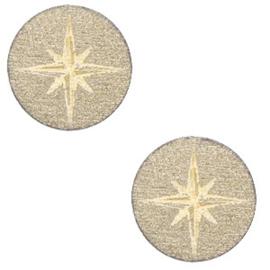 Houten cabochon ster 12mm Pearl gold, 2 stuks