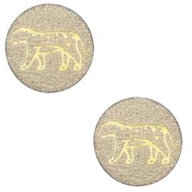 Houten cabochon leopard 12mm Pearl gold, 2 stuks