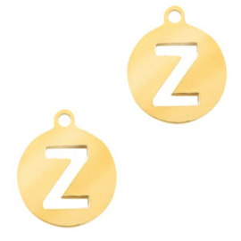 Roestvrij stalen (RVS) Stainless initial bedel Z Goud