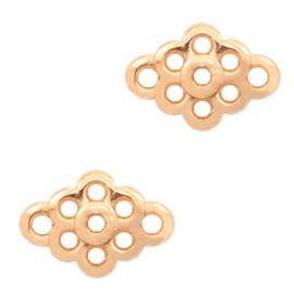 Bedels DQ metaal tussenstuk bloem Rosé goud, 2 stuks (nikkelvrij)