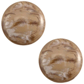 Polaris cabochon 12mm Jais Woodsmoke brown, 2 stuks