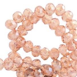 Top Facet kralen 6x4 mm disc Light amber rose-top shine coating (20 stuks)