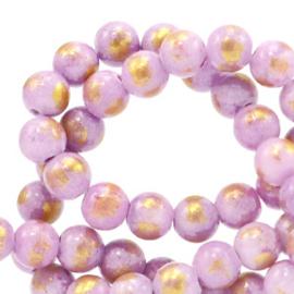 4 mm natuursteen kralen jade Lilac-gold, 10 stuks