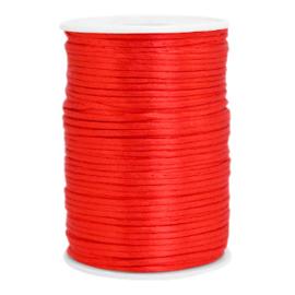 Satijn draad 2.5mm Flame scarlet red, 4 meter