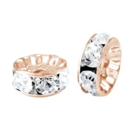 Strass kralen rondellen 6mm Rose gold-crystal (5 stuks)