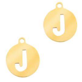 Roestvrij stalen (RVS) Stainless initial bedel J Goud