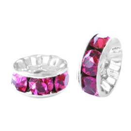 Crystal rondellen 6mm Hot pink-Zilver 4 stuks