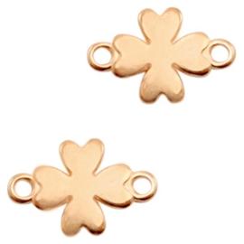 Bedels DQ metaal tussenstuk klaver Rosé goud, 2 stuks (nikkelvrij)