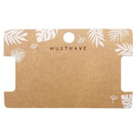 Sieraden kaartjes 'musthave' Leaves Brown, 4 stuks