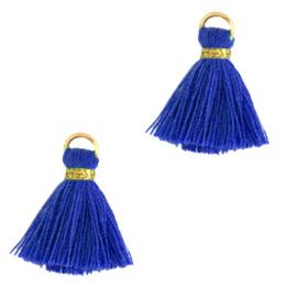 Kwastje 1 cm Gold-princess blue