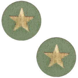 Houten cabochon star 12mm Dark green, 2 stuks