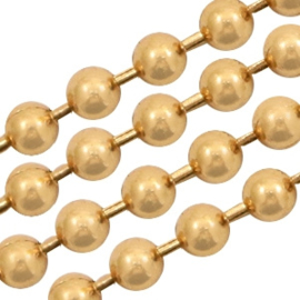 Basic Quality metaal ball chain 1.5mm Goud, per meter