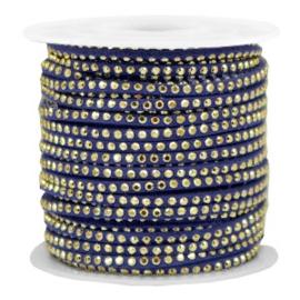 Imi suède 3mm met Gold-dazzling blue, per meter