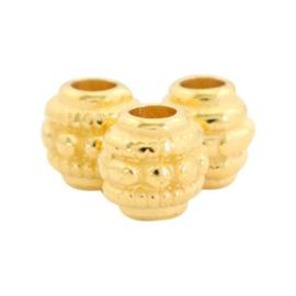 Kralen DQ metaal deco 6mm Goud, 3 stuks (nikkelvrij)