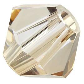 Preciosa Rondelle Bead/Bicone, 6 mm, crystal honey, 2 stuks