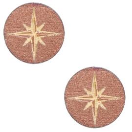 Houten cabochon ster 12mm Rosegold, 2 stuks