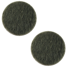 Faux fur cabochons 20mm Army green, 2 stuks