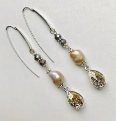 Oorbellen grey pearl & Swarovki drops (Silver)