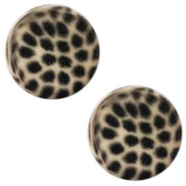 12 mm platte cabochon Polaris Elements leopard Light taupe