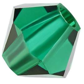 Preciosa Rondelle Bead/Bicone, 6 mm, emerald, 2 stuks