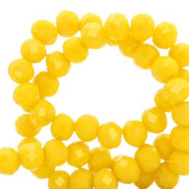 Top Facet kralen 4x3 mm disc Vibrant yellow-pearl  shine coating (20 stuks)