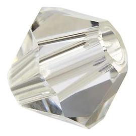 Preciosa Rondelle Bead/Bicone, 6 mm, crystal, 2 stuks