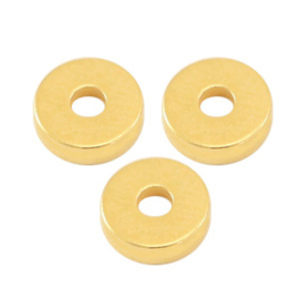 Kralen DQ metaal disc rondellen 6x2mm Goud, 6 stuks (nikkelvrij)