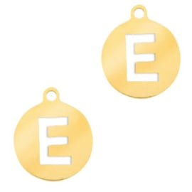 Roestvrij stalen (RVS) Stainless initial bedel E Goud