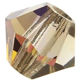 Preciosa Rondelle Bead/Bicone, 6 mm, black diamond AB, 2 stuks