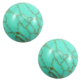 Cabochon basic stone look 12mm Turquoise green-brown