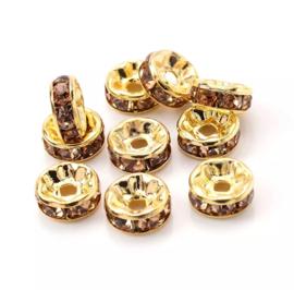 rondellen 8mm Gold-Brown, 4 stuks