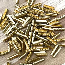 Eindstuk Goud voor 2mm, per 2 stuks