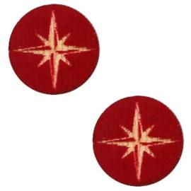 Houten cabochon ster 12mm Dark red, 2 stuks