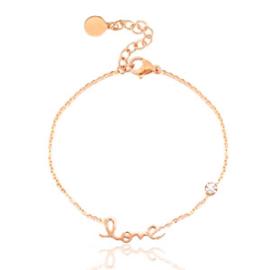 Roestvrij stalen (RVS) Stainless steel armbanden LOVE Rosé Goud