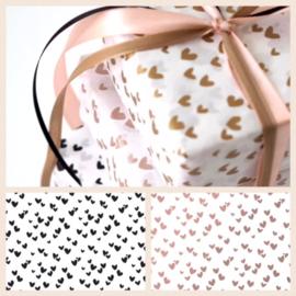 Solo Hearts zijdepapier - Metallic roze, 5 velletjes