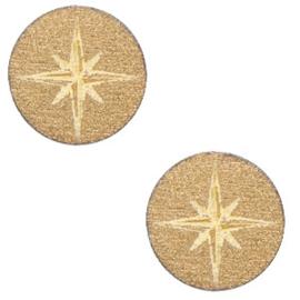 Houten cabochon ster 12mm Gold, 2 stuks