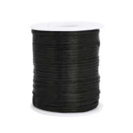 Satijn draad 1.5mm Black, 2 meter