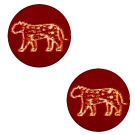 Houten cabochon leopard 12mm Dark red, 2 stuks