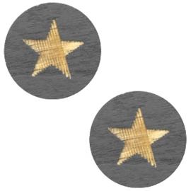 Houten cabochon star 12mm Dark grey, 2 stuks