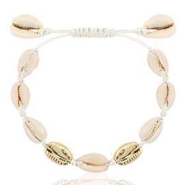Trendy enkelbandjes Kauri Off white-gold