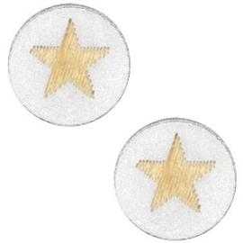 Houten cabochon star 12mm Silver, 2 stuks